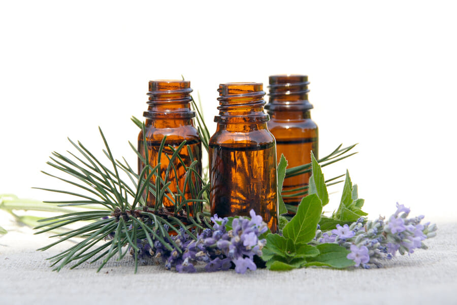 Aromatherapy Aroma Oil in Glass Bottles with Lavender Pine and Mint