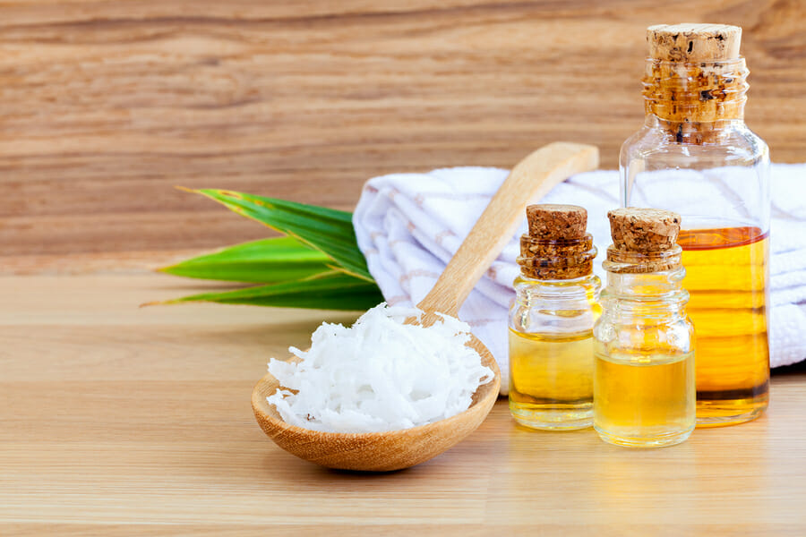 Natural Spa Ingredients . - Coconut essential Oil for alternative therapy.